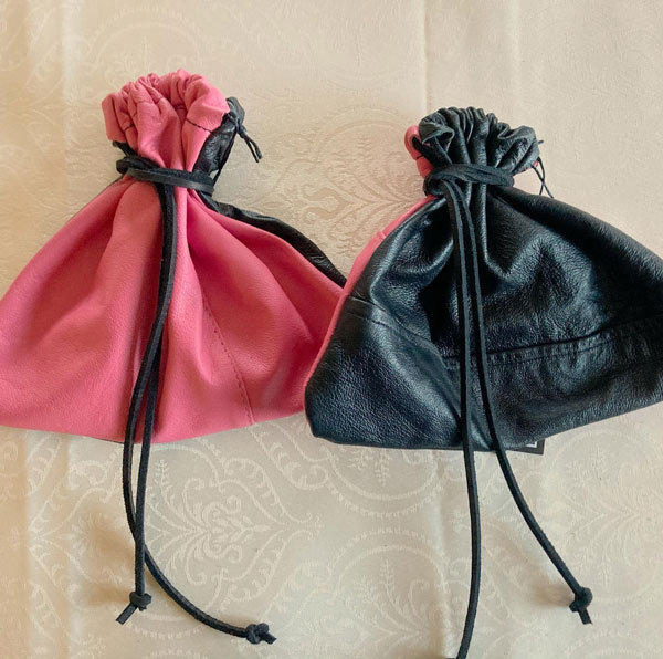 upcycled leather dice bag made on vancouver island