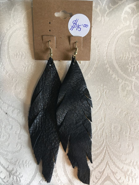 leather feather earrings, Vancouver Island handmade stocking stuffer gift ideas