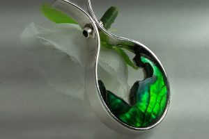 Sterling Silver high polished pendant, w/green abalone, Vancouver Island jewelry made by European Jeweler