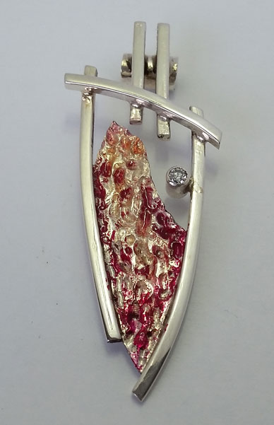 silver and bezel set diamond pendant, made on Vancouver Island by European goldsmith jewelry maker