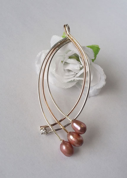 Rose gold and silver pendant with pink pearls, handcrafted on Vancouver Island by European Goldsmith