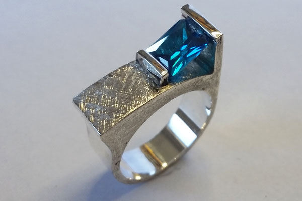 silver and swiss blue cubic zironia ring by Vancouver Island jeweler