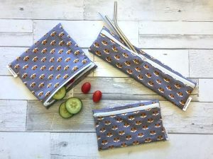 reusable snack and straw bags with fox print, product handmade on Vancouver Island by Evercoast Handmade