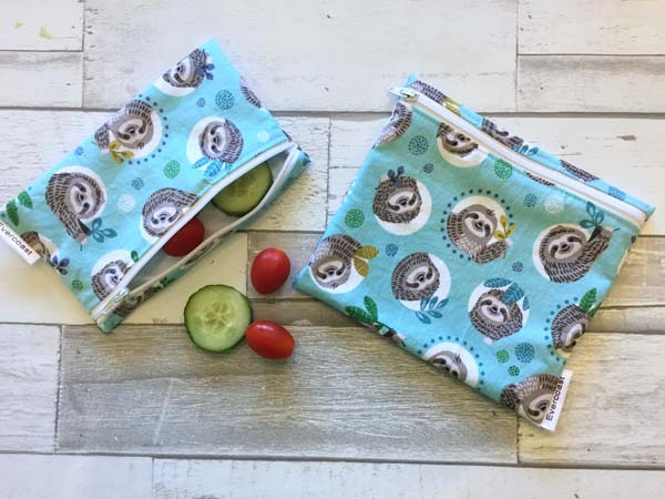 sloth reusable snack bags, product handmade in Victoria on Vancouver Island by Evercoast Handmade