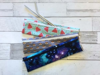 reusable straw bags in fox, watermellon, and galaxy prints, product made on Vancouver Island in Victoria by Evercoast