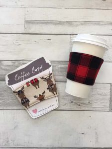 Canadiana coffee cup cozy in moose and plaid print, product handmade on Vancouver Island in Victoria