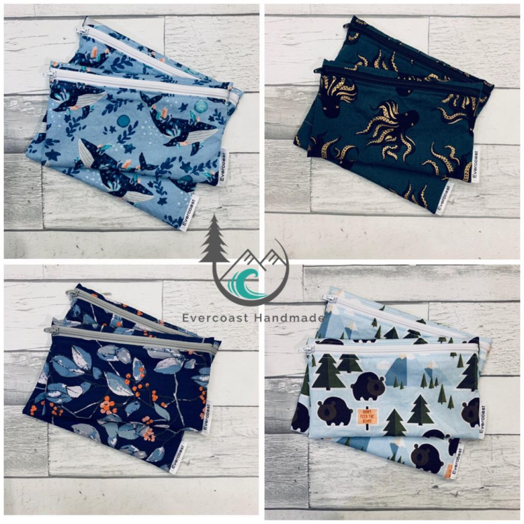 reusable snack bags in assorted fabrics made on Vancouver Island by Evercoast