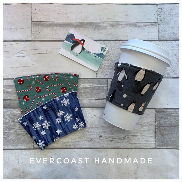 holiday coffee cup coizies made locally on vancouver island canada