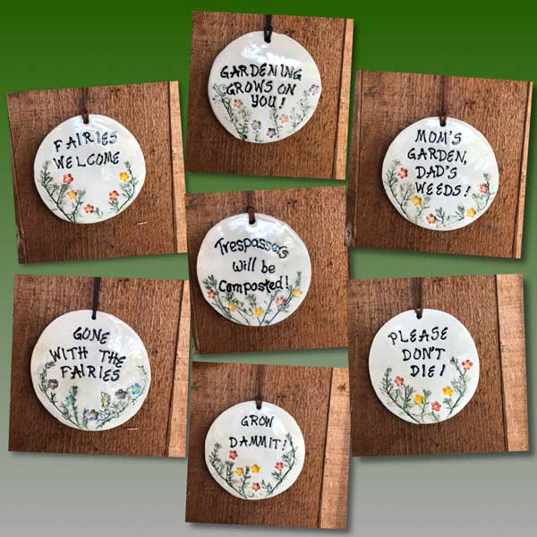 funny garden signs handmade on Vancouver Island by Faegarten Clay stocking stuffer ideas made on Vancouver Island