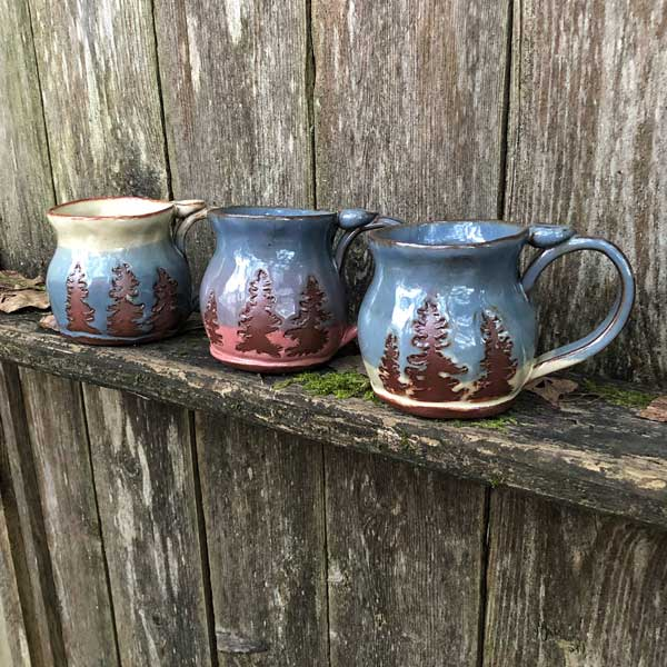Douglas fir tree mugs handmade on Vancouver Island by Faegarten Clay
