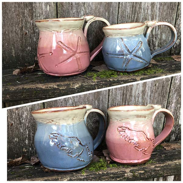 Vancouver Island mugs and starfish mugs handmade by Faegarten Clay