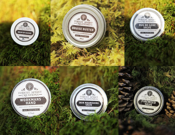 all natural salves made on Vancouver Island - fireweed salve, skin nourising, bug repellant, bruise buster