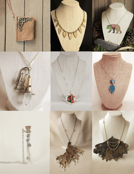 nature inspired jewelry - leaf, mushrooms, crystal, and bear necklaces hand made on Vancouver Island in Qualicum Beach by Forest Spirit Creations