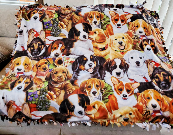 puppy dog knotted fleece blanket made on vancouver island in nanaimo