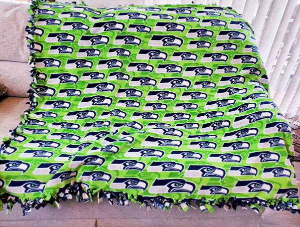 seattle seahawk's blanket, made on vancouver island in nanaimo