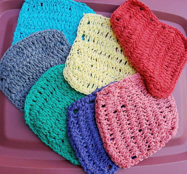 crocheted dish clothes, product made locally on vancouver island in nanaimo