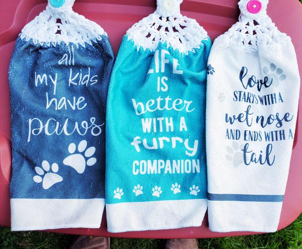 dog/ fur mama sayings on tea towels hand made locally in nanaimo bc
