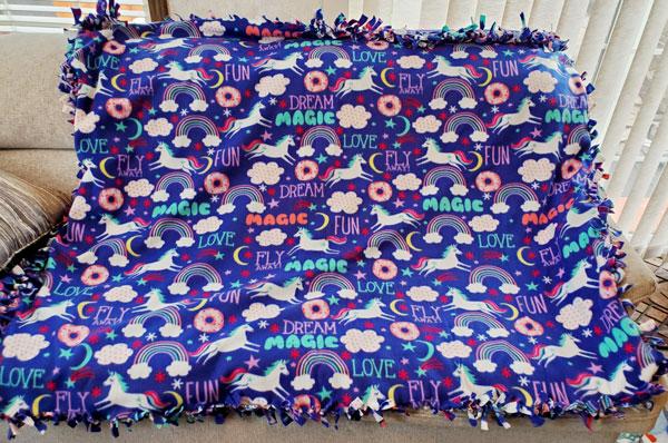 unicorn fleece blanket product made in nanaimo on vancouver island
