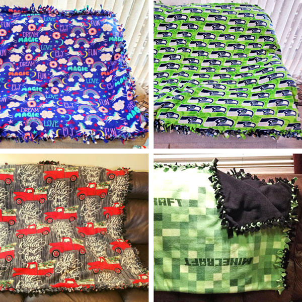 Knotted fleece quilts, gifts for kids made on vancouver island