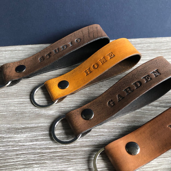 Leather key fobs upcycled from scrap leather, Vancouver Island stocking stuffer ideas
