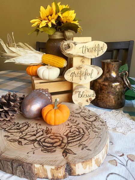 """thankful grateful blessed"" woodburnt signs handmade in Parksville on Vancouver Island"