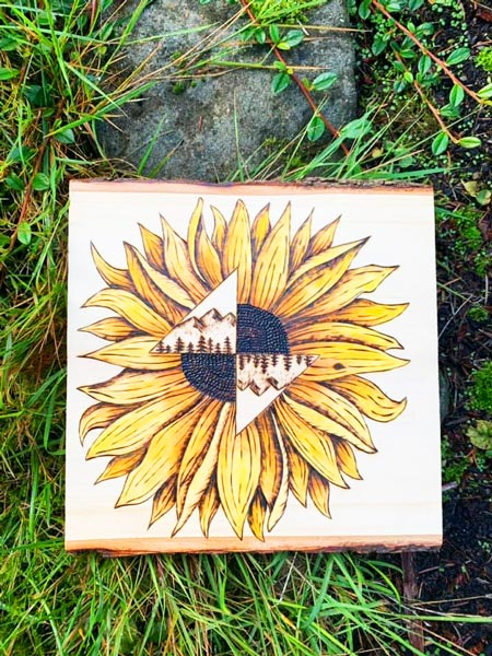 sunflower wood burning made in Parksville on Vancouver Island by Honeybeezigns