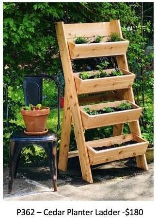 cedar planter ladder made on Vancouver Island