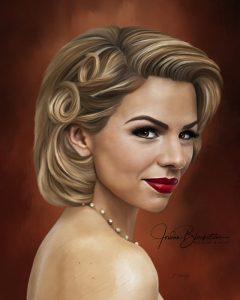 Portrait painting of actress Ali Liebert by Vancouver Island artist Jordan Blackstone
