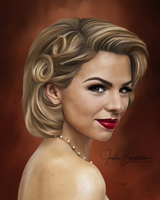 Portrait painting of actress Ali Liebert by Vancouver Island artist Jordan Blackstone