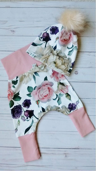 Floral grow with me Canadian made baby pants and hat, sewn by Vancouver Island clothing maker Kid-o's Clothing