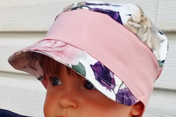 Vancouver Island made child's hat with flowers made locally in Nanaimo