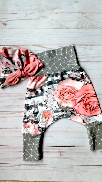 grow with me baby pants made on Vancouver Island, rose fabric kids clothing