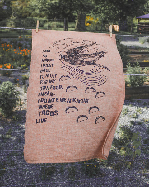 taco tea towels made on Vancouver Island in Canada by Kindred Coast