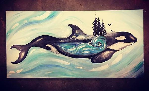 painting of West Coast Orca by Vancouver Island painter Laura Jayne Art Studio