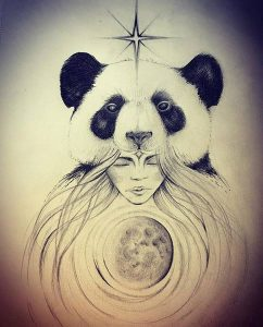 Drawing by Vancouver Island artist Laura Furness of panda on a woman's head