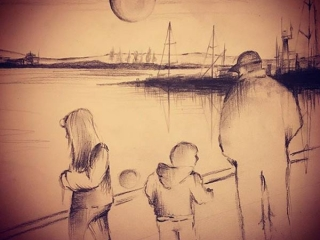 sketch of Vancouver Island artist Laura Furness's family