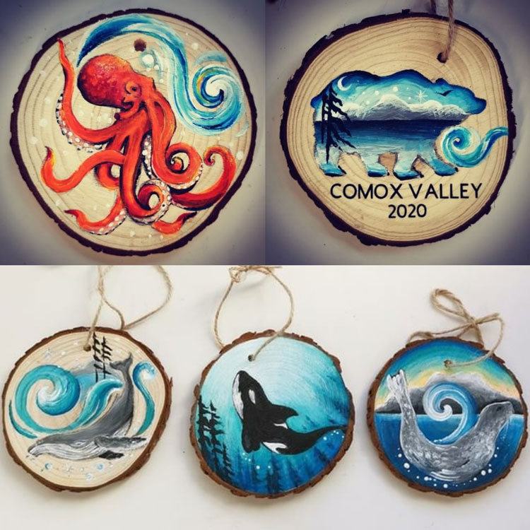 wood wildlife Christmas ornaments made in Vancouver Island in Comox Valley