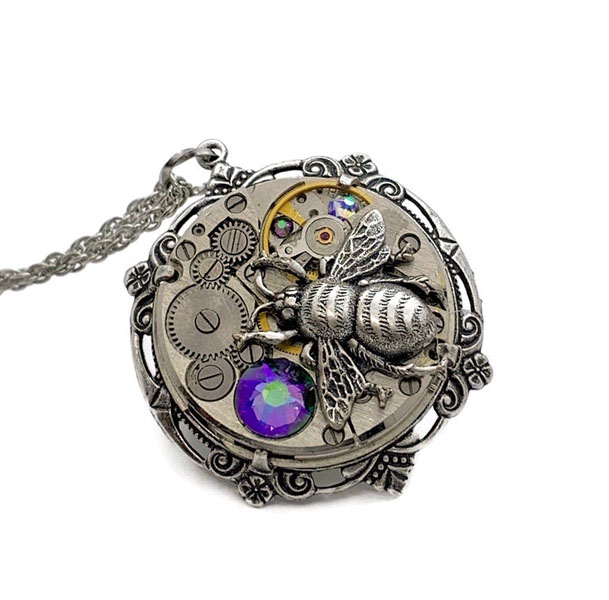 steampunk style upcycled watch pendant made on Vancouver Island in Ladysmith
