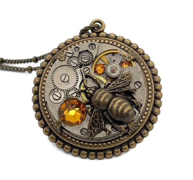 steampunk style accessory made in Canada, upcycled watch with bee