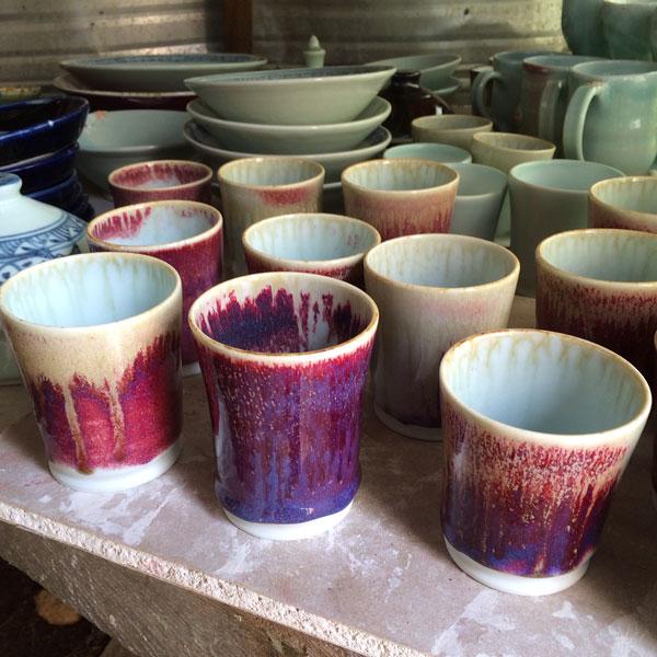 assortment of handmade ceramic dishes by SeaRose studios on Gilford Island, B.C.