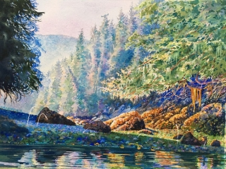 Watercolour painting of clamspits on ocean by Vancouver Island artist Searose Studios