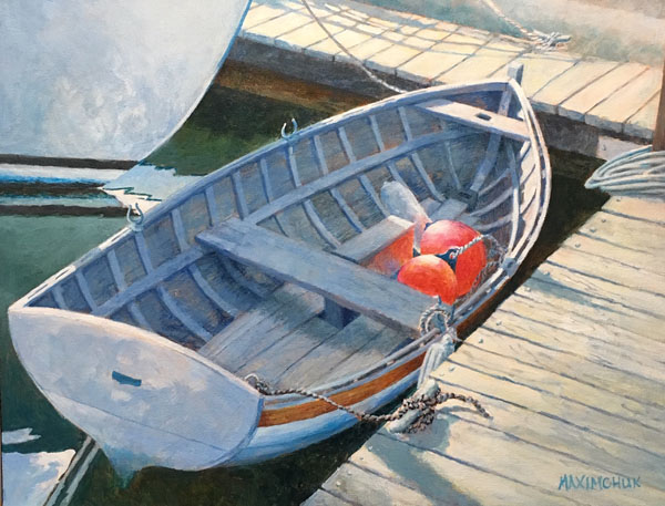 Acrylic painting of rowboat by Vancouver Island artist SeaRose studios (Yvonne Maximchuk)
