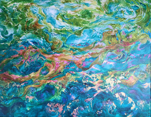 Acrylic painting of the ocean colours by Vancouver Island artist Yvonne Maximchuk