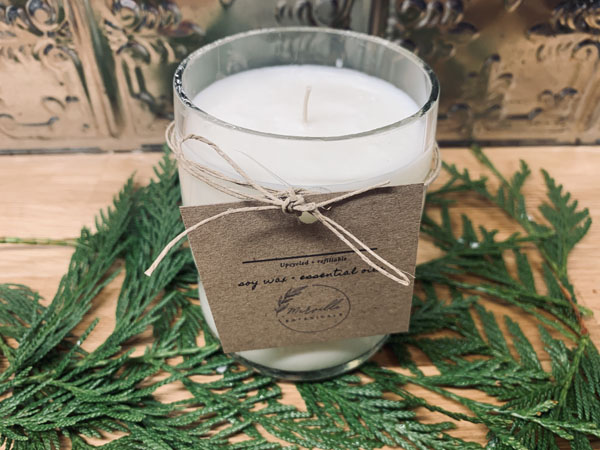 upcycled natural soy candles, product made in Merville Vancouver Island Canada