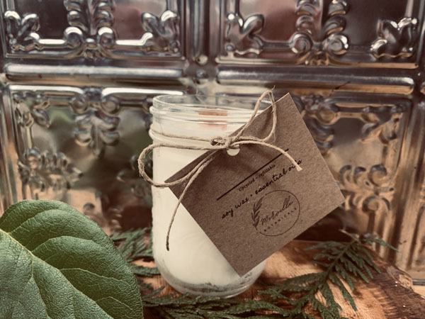 upcycled natural soy candle in a jar, product made on Vancouver Island Canada by Merville Botanicals