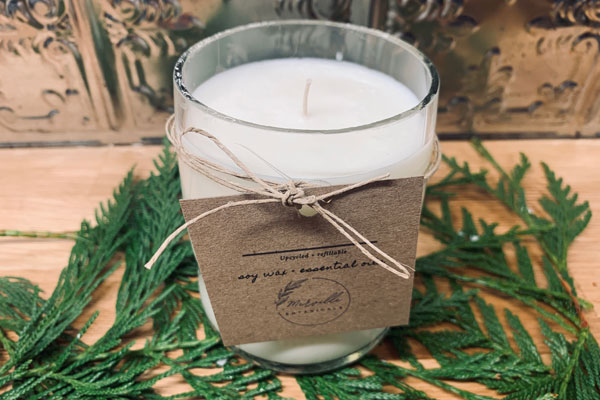 upcycled natural soy candle, product made on Vancouver Island Canada by Merville Botanicals