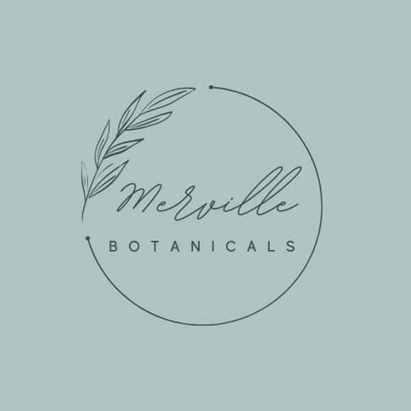 Merville Botanicals logo, upcycled natural soy candles made on Vancouver Island Canada by Merville Botanicals