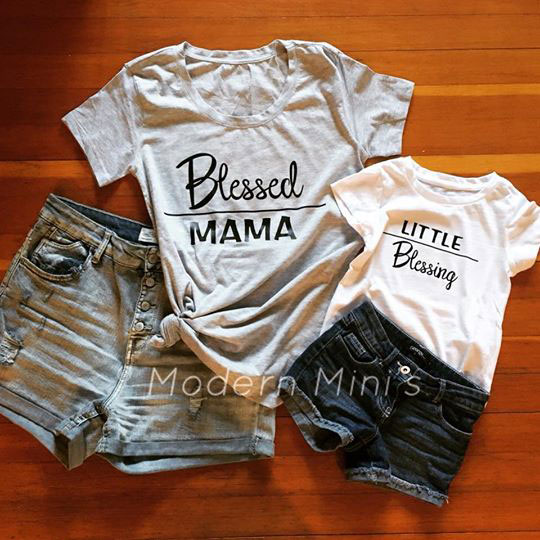 "Matching mom and little t shirts saying ""Blessed Mama"" and ""Little Blessing"", Vancouver Island screenprinting"