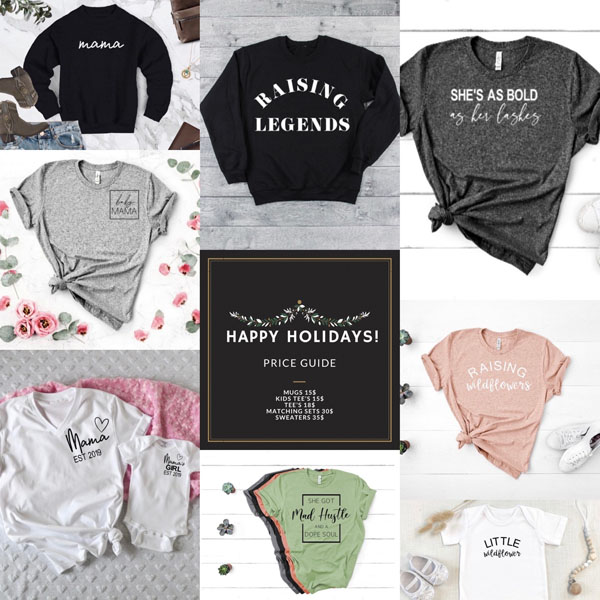 graphic t's, parent and tot coordinating t's, gift ideas from vancouver island