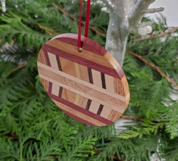 exotic wood chevron handmade ornament made on vancouver island bc by naturally wood